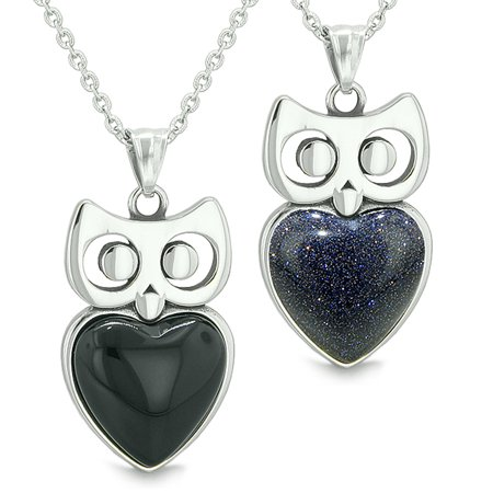 Amulets Owl Cute Hearts Love Couples Set Simulated Black Onyx Blue Goldstone Pendant Necklaces