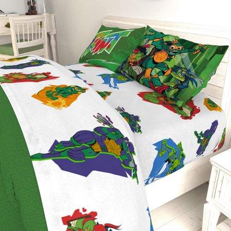 TMNT Twin Reversible Comforter and 3 Piece Sheet Set ()