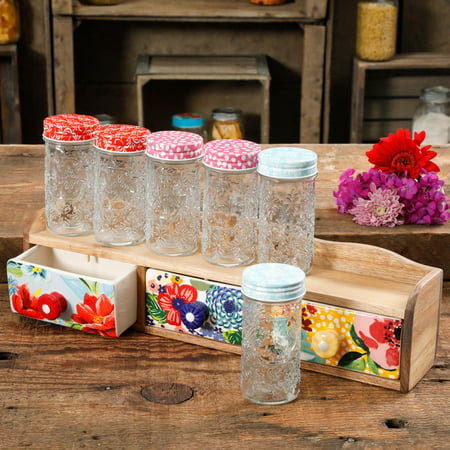 The Pioneer Woman Floral 7-Piece Spice Shelf Set