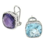 De Buman Sterling Silver Natural Blue Topaz or Amethyst Earrings Natural Amethyst Earrings