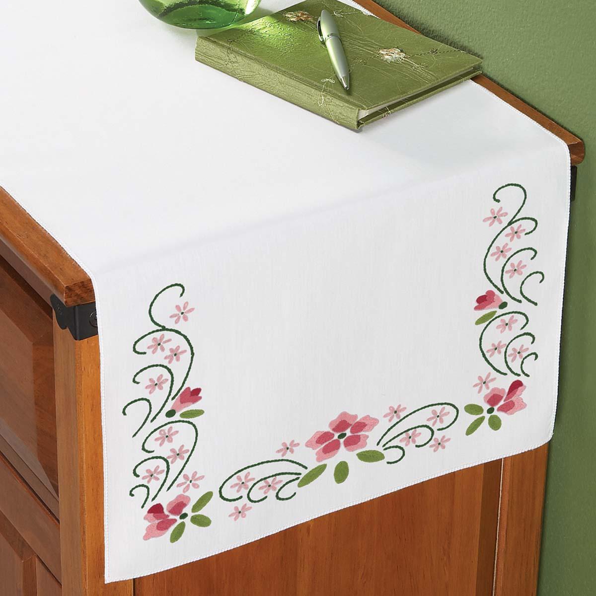 Herrschners® Sweet Azaleas Dresser Scarf Stamped Embroidery