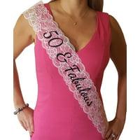50 & Fabulous Lace Sash: 50th Birthday Sash (Black)