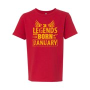 Legends Born In January Birthday Girls Boys  Short Sleeve