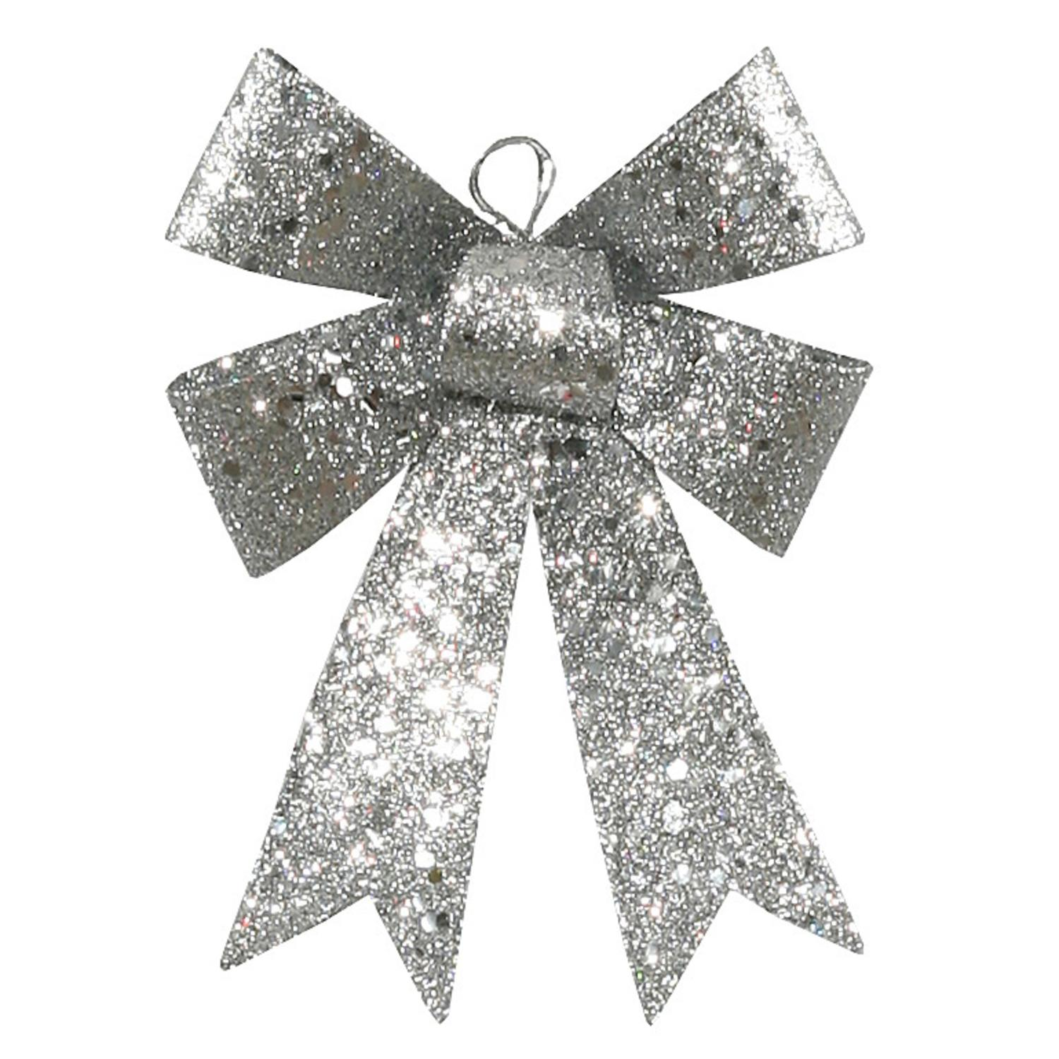 "5"" Silver Sequin and Glitter Bow Christmas Ornament"