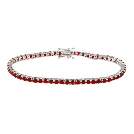 Synthetic Ruby Cubic Zirconia Endless Tennis Bracelet Sterling Silver