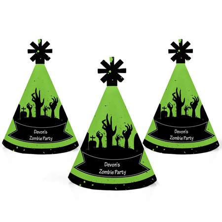 Zombie Zone - Mini Cone Halloween or Birthday Zombie Crawl Party Hats - Small Little Party Hats - Set of 10 - Heights Pub Crawl Halloween