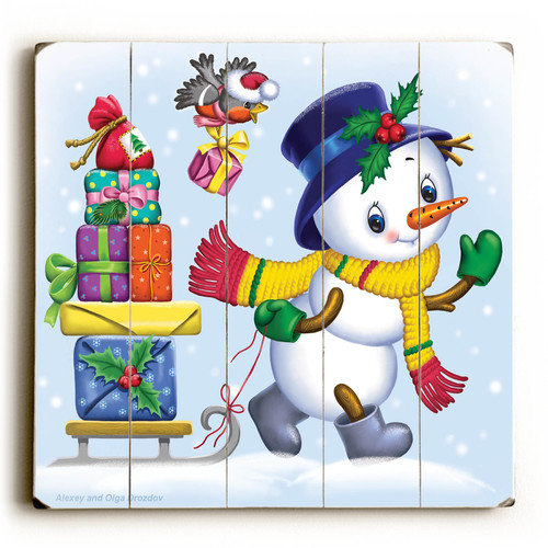 Artehouse LLC Snowman with Presents Graphic Art