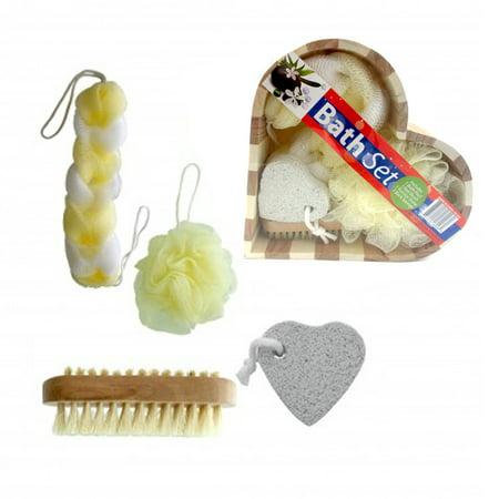 Milk Spa Gift Set (5pc Gift Set Spa Scrubber Exfoliating Sponge Pumice Stone Brush Heart Box )