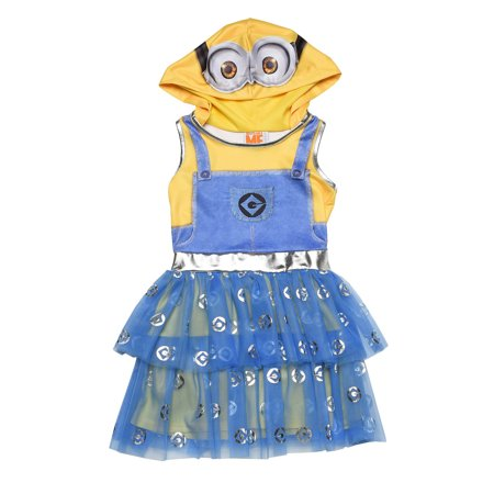 Girls Minions Despicable Me Costume Dress Hood Mask Cosplay](Minions Dress)
