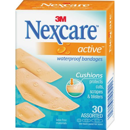 3M Nexcare ACTIVE Waterproof Cushioned Bandages One Size 30 Each
