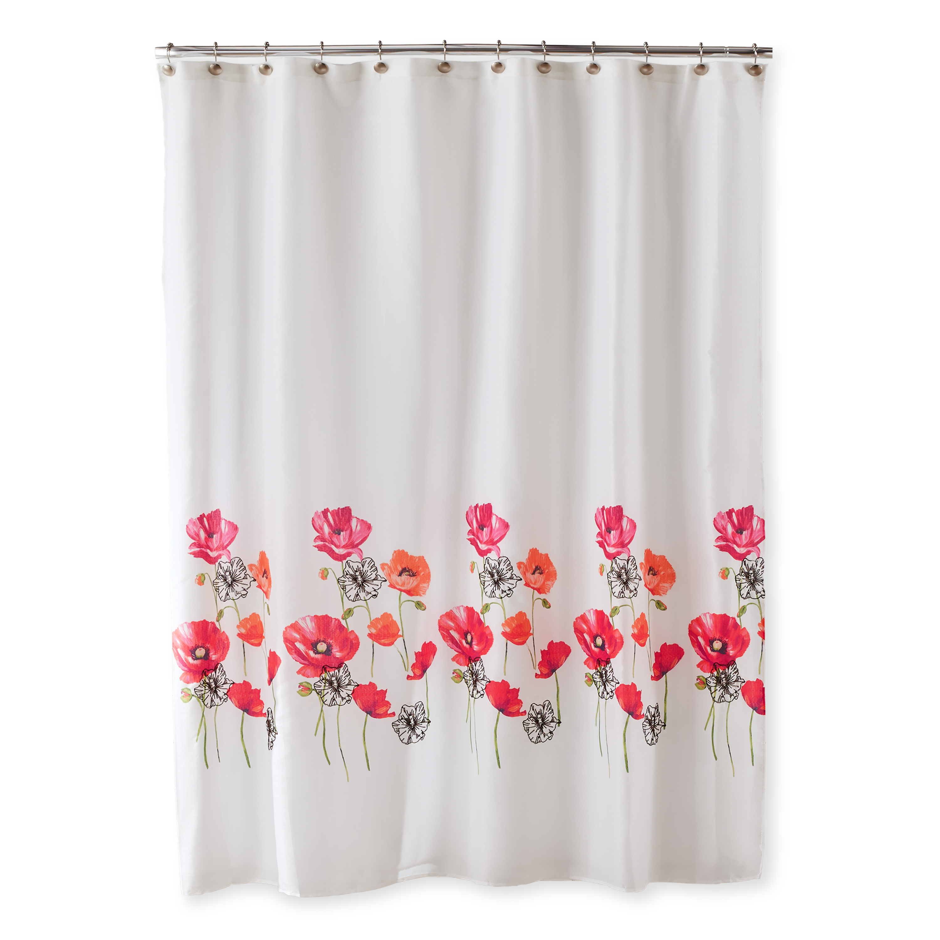 Better Homes & Gardens Embellished Poppies Shower Curtain