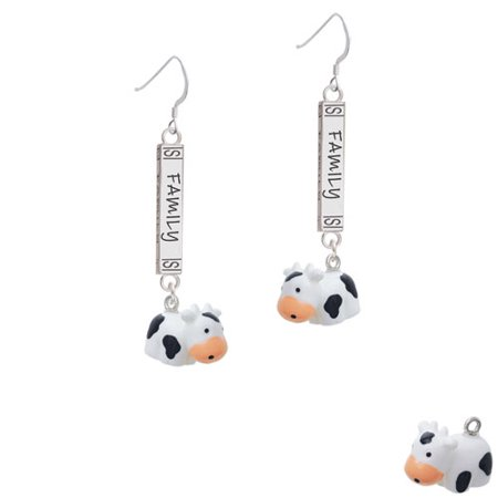 Resin Black And White Cow   Family Bar French Earring