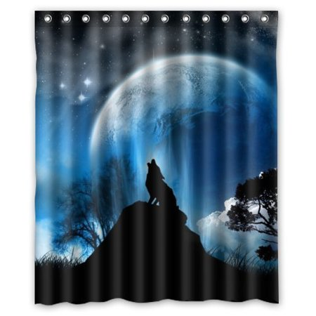 HelloDecor Wolf Shower Curtain Polyester Fabric Bathroom Decorative Size 60x72 Inches