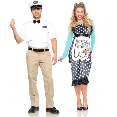 Seeing Red Milk Man and 40s Mom Couples Costumes for Adults, Standard Size, His and Hers Honeymoon Throwback (Carrie's Mom Halloween Costume)