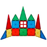 Best Choice Products 32-Piece Magnetic Tiles Educational STEM Toy Set with Carrying Case