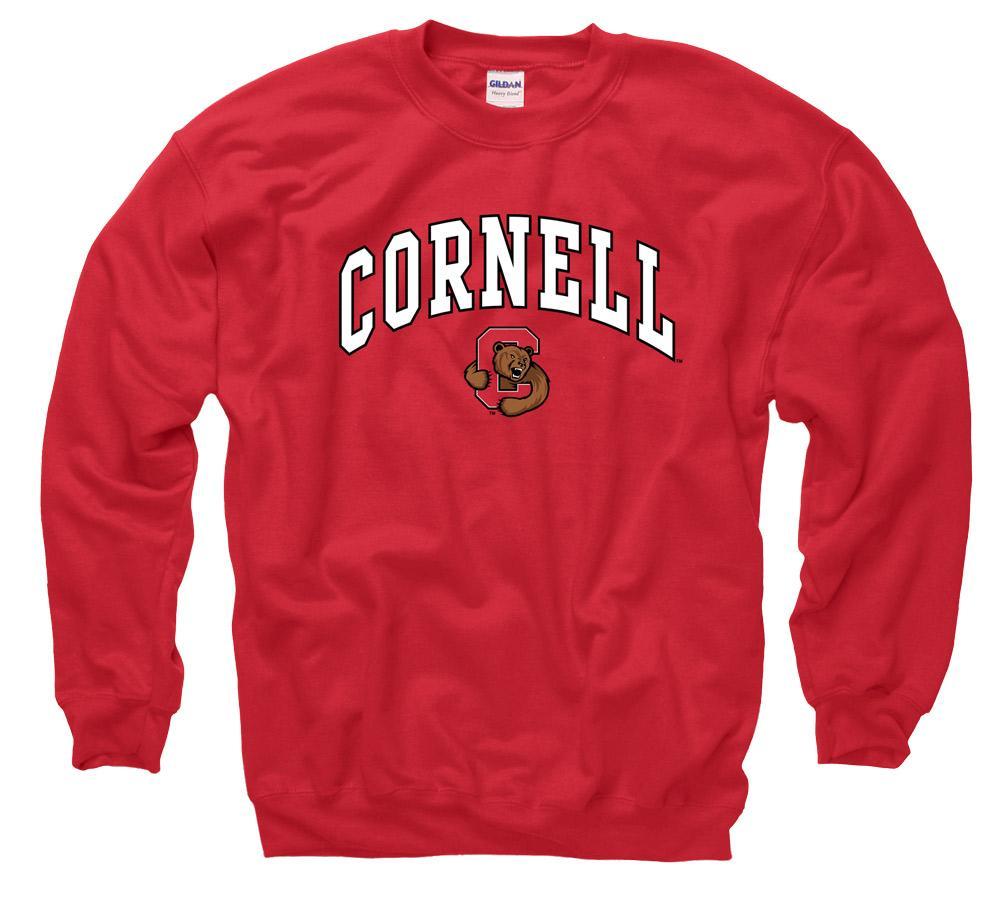Cornell University Men's Crew Neck Sweatshirt- Red