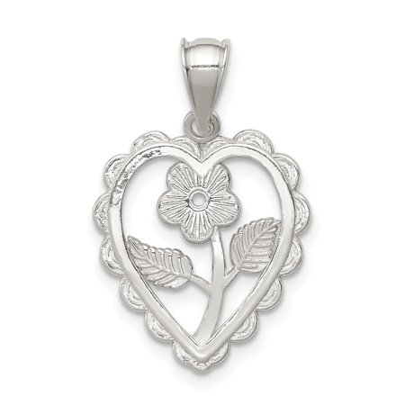 Sterling Silver Polished Mini Floral Center Heart
