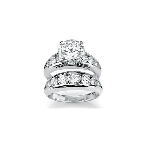 PalmBeach Jewelry 4823710 6. 09 TCW Round Cubic Zirconia Sterling Silver Bridal Engagement Ring Wedding Band Set - Size