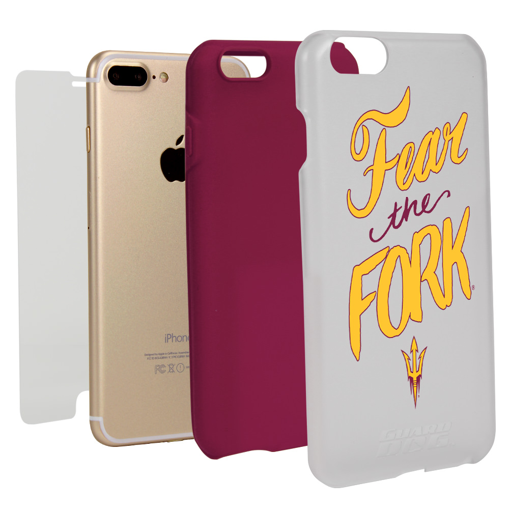 Arizona State Sun Devils Fear the Fork Hybrid Case for iPhone 7 Plus/8 Plus with Guard Glass Screen Protector - White NCAA