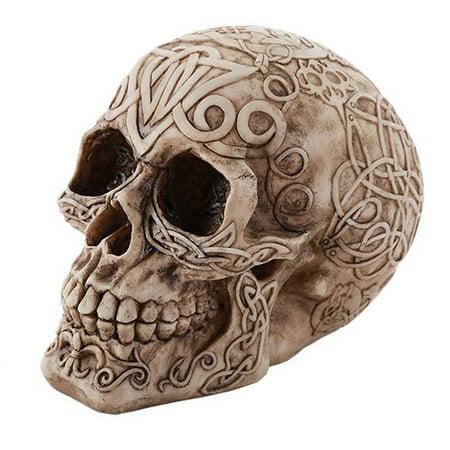 Celtic Owl Knotwork Human Skull Statue Gothic - Human Skulls