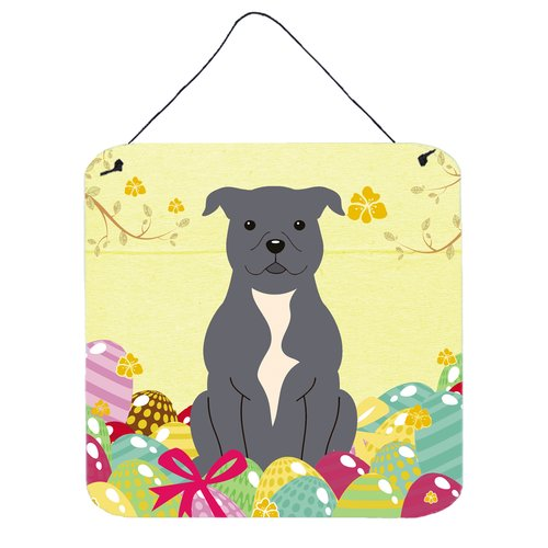 The Holiday Aisle Easter Eggs Staffordshire Bull Terrier Gloss Wall D cor