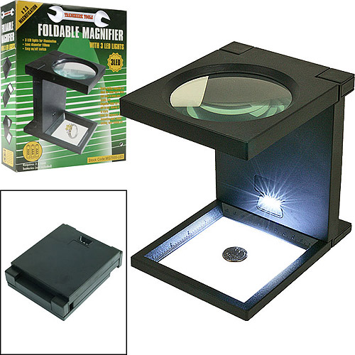 Stalwart Foldable Magnifier with 3 LED Lights