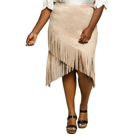 66db7306eef Xehar - Xehar Women s Plus Size Stylish Faux Suede Fringe Skirt -  Walmart.com