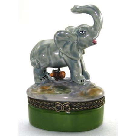 Crystal Elephant Trinket Box - Baby Elephant Pachyderm Hinged Trinket Box phb