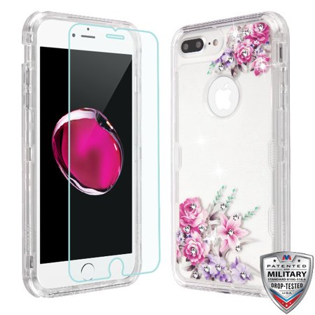 Apple iPhone 8 Plus, 7 Plus, 6 /6S Plus Phone Case Hybrid Armor Bling Diamond Impact Rubber Protective Case Cover + Tempered Glass Screen Protector Rose Flower Case for Apple iPhone 8 /7/6/6S