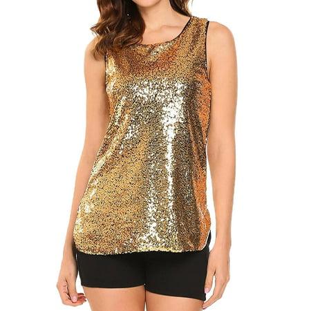 STARVNC Women Sleeveless Round Neck Sparkle Sequin Embellished Tank Top Vest Top