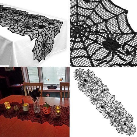 Halloween Polyester Lace Dinner Parties Table Runner Black Spider Web Decor