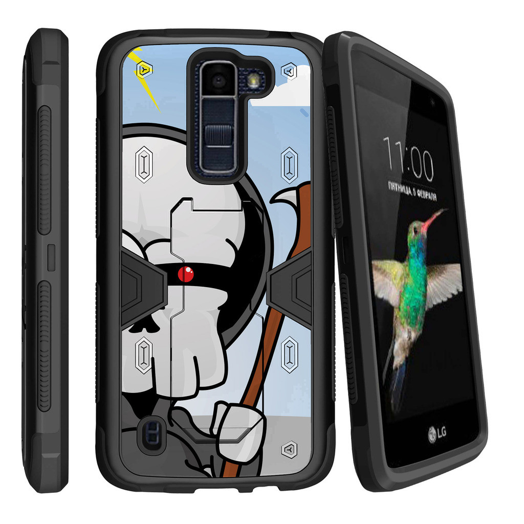 LG K8 | Escape 3 Dual Layer Shock Resistant MAX DEFENSE Heavy Duty Case with Built In Kickstand - Here Comes Death