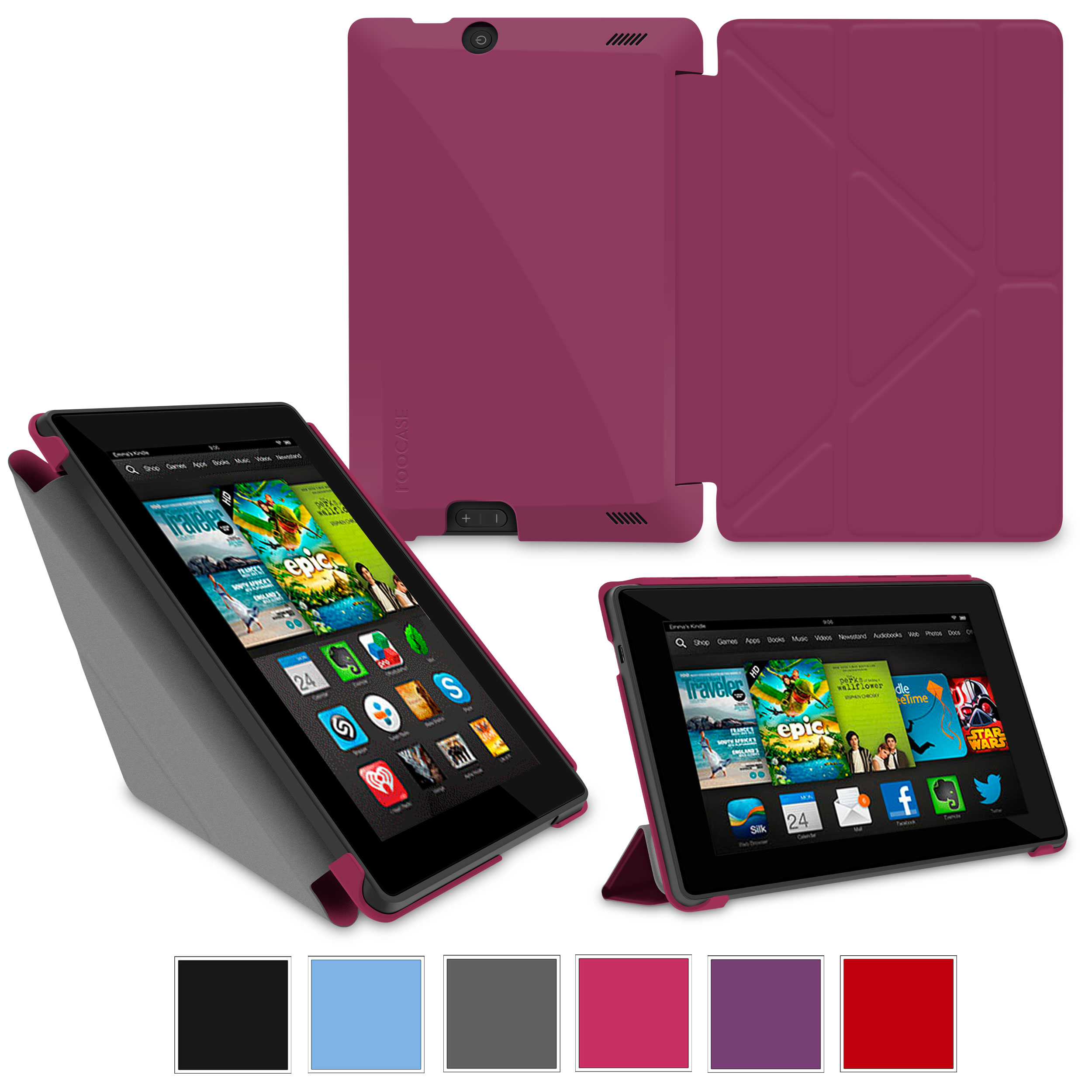 "rooCASE Amazon Kindle Fire HD 7 Case - (2013 Previous Generation) Origami Slim Shell 7-Inch 7"" Cover with Landscape, Portrait, Typing Stand - MAGENTA"