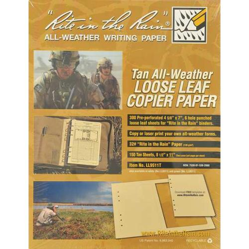 RITE IN THE RAIN LL9511T Copier Paper, Tan, PK 150