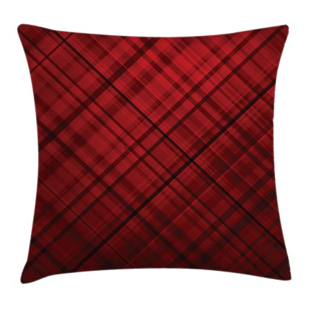 Red and Black Throw Pillow Cushion Cover, Scottish Kilt Design Pattern with Stripes Lines Squares Ombre Image, Decorative Square Accent Pillow Case, 20 X 20 Inches, Burgundy and Scarlet, by Ambesonne