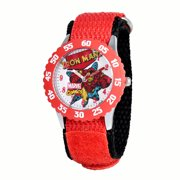 Iron Man Boys' Stainless Steel Time Teacher Red Bezel Watch, Red Nylon Strap