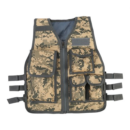 - Kids Army Combat Multi-Pocket Adjustable Camouflage Vest - Woodland Camo, Ages 5-13yrs
