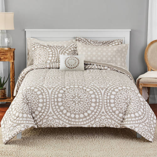 Mainstays Taupe Ikat Medallion Bed in a Bag Bedding Set