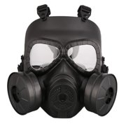 Full Face Mask Gas Mask Helmet PC Lens With Double Fans Adjustable Mask For CS