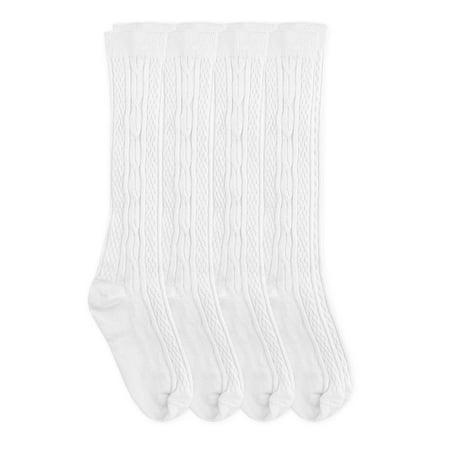 Jefferies Socks Girls Socks, 4 Pack School Uniform Cotton Cable Knit Knee High Socks (Little Girl & Big Girl)
