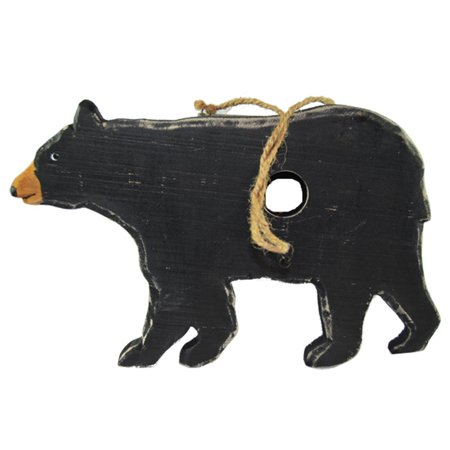 Pine Ridge Big Black Bear Real Wood Hanging Birdhouse Home Decor - Wildlife Barefoot Animal Collectibles - Country Wooden Bear Gift Ideas ()