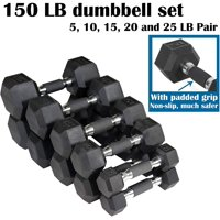 CAP Barbell SDPU Urethane Hex Dumbbell Set with Inlaid Ergonomic Handles - 5, 10, 15, 20, 25 lbs (5 pairs) - Odorless Dumbbells