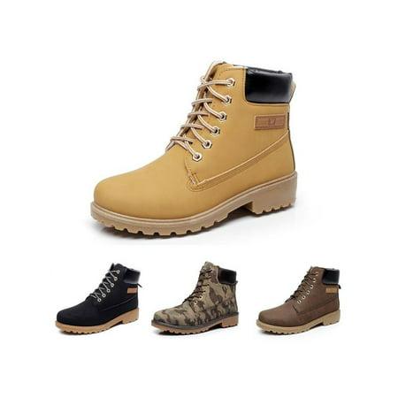 Megiar Men's Winter Leather Boot Men Outdoor Waterproof Rubber Snow boots