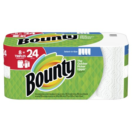 2 Ply Paper Towel Roll (Bounty Select-A-Size Paper Towels, White, 8 Triple Rolls = 24 Regular Rolls)