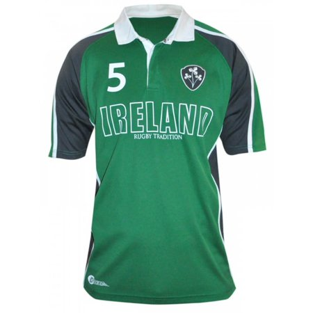 All Blacks Rugby Jersey - Ireland Rugby Tradition Shirt, Breathable Fabric, Green and Black, Large