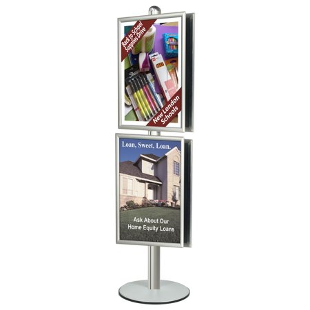 Double-Sided Aluminum Poster Stand Displays (4) 24 x 36-Inch Graphics, 24 x 94 x 18-Inch, Free-Standing, Snap-Open Frame Style, Clear Plastic Protective Lens, Wide Stable Base (BP8D362)