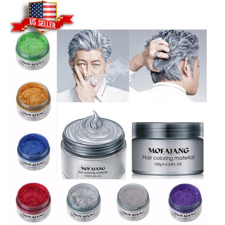 White Temporary Hair Spray (Unisex DIY Hair Color Wax Mud Dye Cream Temporary Modeling 7 Colors VeniCare)