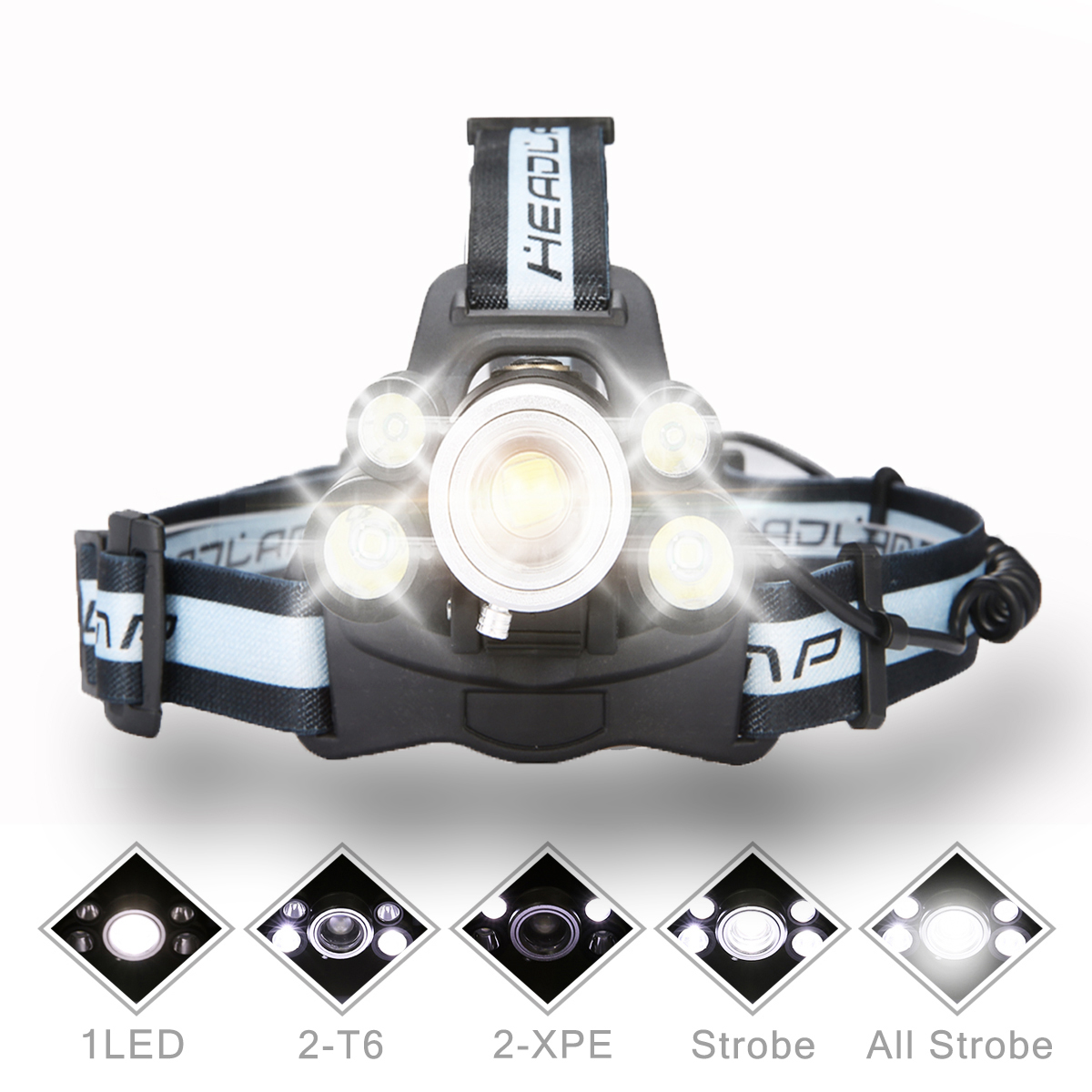 8000 Lumens 3x T5 LED Rechargeable Headlamp Headlight Flashlight Torch Lantern Waterproof 4 Modes or Outdoor Hiking Camping Home