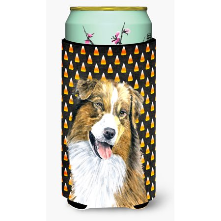 Halloween In Australia (Australian Shepherd Candy Corn Halloween Portrait Ultra Beverage Insulators for slim cans)