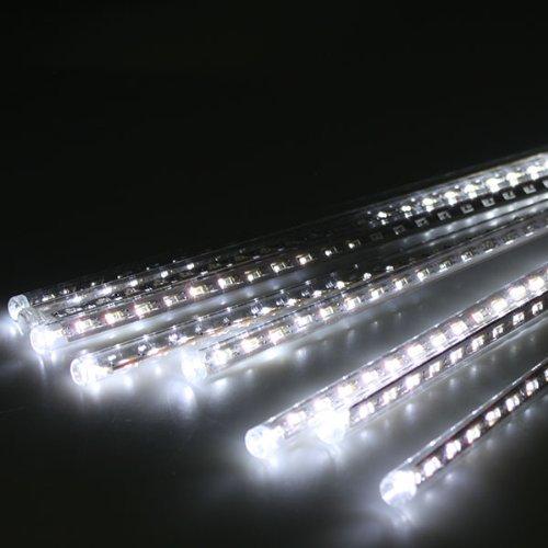 AGPtek 50cm Tube Colorful Meteor Shower Rain Lights cool White 8pcs